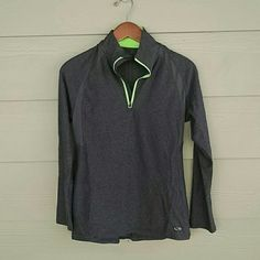 CHAMPION half zip Charcoal gray half zip with bright green collar and zipper. Super cute detail on back. Open mesh on part of side and part of back. Wore one time and in great condition. 90% polyester 10% spandex. Champion C9 by target Champion Tops