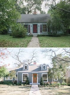 20 Home Exterior Makeover Before and After Ideas Fixer Upper Cape Cod Renovation Architecture Renovation, Home Renovation, Home Remodeling, Kitchen Remodeling, Exterior Renovation Before And After, Patio Interior, Interior Exterior, Exterior Design, Diy Exterior