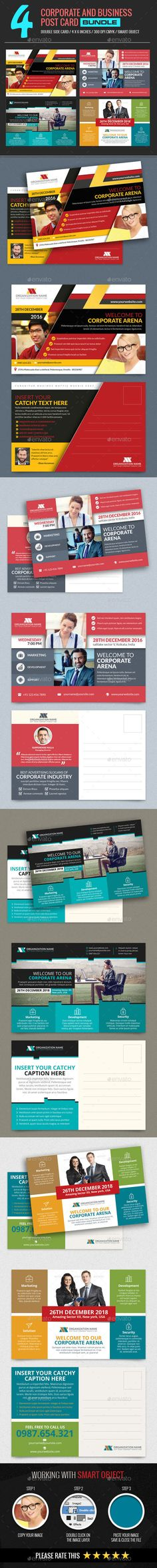 4 In 1 Corporate and Business Post Card Design Template Bundle - Cards & Invites Template PSD. Download here: https://graphicriver.net/item/4-in-1-corporate-and-business-post-card-bundle/17390479?ref=yinkira