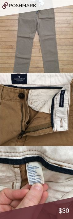 💥1 DAY SALE💥AmericanEagle Khaki Pants 31/34 NWOT American Eagle men's dress pants in the relaxed straight style.  Dark khaki color.  New without tags.  100% cotton.  Size 31/34.  FLAW - 1 small bleach stain on the back (shown).  Could be dyed! American Eagle Outfitters Pants Chinos & Khakis