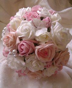 Foam Rose Pearl Erfly Bouquet 45 X Www Flowersbypurplehaze Flowerflower Bouquetswedding