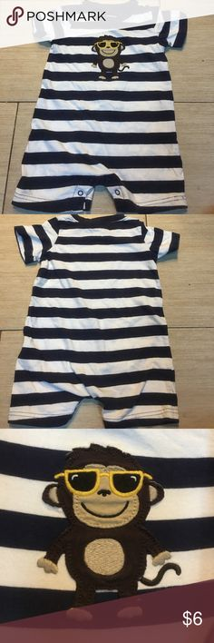 Kids onesie Kids onesie navy and white stripes with a cool dude monkey wearing glasses. Carter's One Pieces
