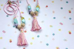Pink Pastel Tassel Necklace - Girl's by shoprachelrainbow on Etsy https://www.etsy.com/listing/229493101/pink-pastel-tassel-necklace-girls