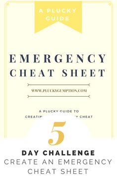 Free 5 Day Challenge. Create an Emergency Cheat Sheet in 5 Days. No more worries. Get some peace in 15 minutes a day or less in 5 days! Plucky Gumption