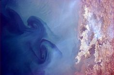 Huge swirls in the sea off of Mumbai, India - Chris Hadfield from ISS