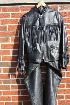 Vintage Motorcycle Jacket and Chaps - Reed Sportswear - Black Leather - Zippers - Snaps - Fringe - http://www.gezn.com/vintage-motorcycle-jacket-and-chaps-reed-sportswear-black-leather-zippers-snaps-fringe.html