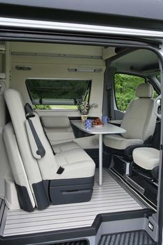 Interior of the very plush Westfalia James Cook Mercedes Sprinter RV.