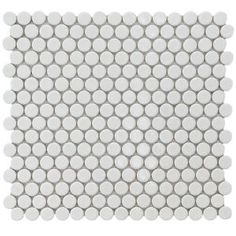 Penny Round 12 in. x 12-1/4 in. White Porcelain Mesh-Mounted Mosaic Tile-FKOMPR11 at The Home Depot