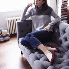Slouchy turtlenecks only, please! Like this colorblock one.