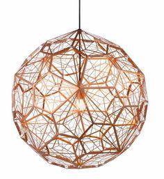 Pendant Light by Tom Dixon, Etch Web Lamp, Unique Lighting Design Copper Pendant Lights, Cheap Pendant Lights, Modern Pendant Light, Pendant Lighting, Pendant Lamps, Ceiling Pendant, Copper Lights Kitchen, Copper Lighting, Globe Pendant