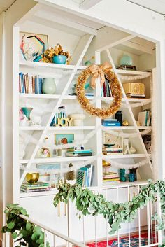 Decorate your own chic holiday shelves for an Insta-worthy look.