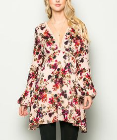 Look at this #zulilyfind! Taupe & Red Floral Blouson-Sleeve Sidetail Tunic #zulilyfinds