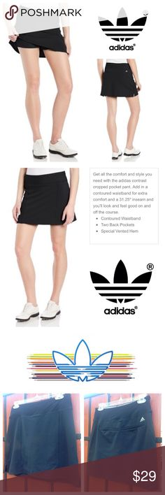 NEW!  Adidas Golf ⛳️ Rangewear skort in black Brand new, ultra-soft, super comfy Adidas Rangewear skort is absolutely perfect for any activity or exercise!  Crafted from a plush fabric with a 4-way stretch for complete range of motion!  Available in all black for total versatility to pair with all your activewear!  Retails at $60!  No trades please.  Brand new, never worn, with tags attached! Adidas Shorts Skorts