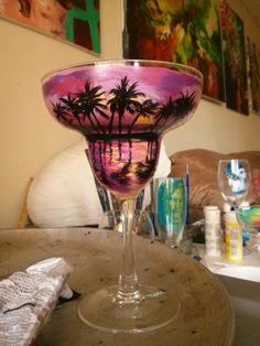 Hand painted Beach sunset pink margarita glass by Kristen Allen