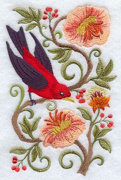 Scarlet Tanager in Flowers design (E9271) from www.Emblibrary.com