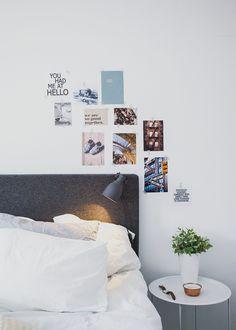 sovrum,fotovägg,sängbord,krukväxt