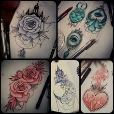 None of these designs have been snapped up yet!  I soooo want to tattoo them so get in touch if youre interested! Full colour or black & grey  sophie.adamson@hotmail.co.uk #tattoo #design #art #drawing #neotraditional #uktattoo #plymouth...