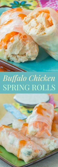 Buffalo Chicken Spring Rolls are a spicy twist on traditional rice paper rolls that make an easy gluten free appetizer or light dinner recipe. Rice Paper Recipes, Recipe Paper, Rice Paper Rolls Fillings, Best Appetizers, Appetizer Recipes, Italian Appetizers, Party Recipes, Buffalo Chicken Rolls, Chicken Spring Rolls
