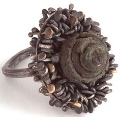 Romilly Saumarez Smith. Saxon bronze pin head mounted upon a silver ring
