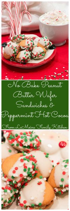 No Bake Peanut Butter Wafer Sandwiches & Peppermint Hot Cocoa. Whip up this really easy sweet treat for Santa this year! They are delicious and so fun! #newforsanta #ad @walmart