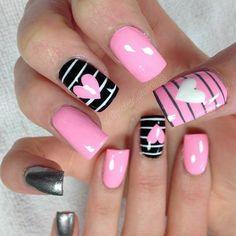 Pink Nail Art, Cute Acrylic Nails, Pink Nails, Gel Nails, Pink Art, Valentine's Day Nail Designs, Acrylic Nail Designs, Valentine Nail Art, Valentines