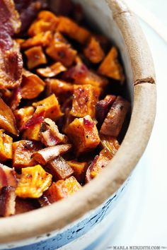 Use GF bacon! Maple Roasted Sweet Potatoes with Bacon | FamilyFreshCooking.com