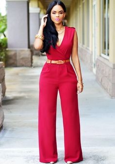 2ea616d1bb 2 Color Womens Jumpsuits And Rompers Wide Leg With Belt Elegant Playsuit  Work Wear Office Lady Casual Sexy One Piece Outfits