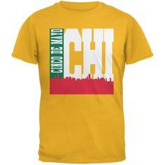 3c5a3074 Chicago Cinco De Mayo Sky Line Gold Adult T-Shirt. Old GloryChicagoCotton  ...