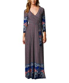 Look what I found on #zulily! Blue Medallion Wrap Maxi Dress #zulilyfinds