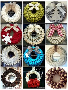 DIY Holiday Wreath Ideas - I really like the gray burlap with the tree!!