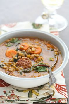 Lentil Soup with Swiss Chard and Sausage via DeliciouslyOrganic.net