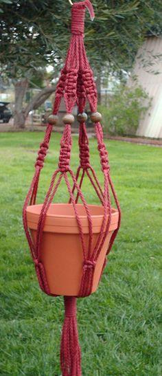 Macrame Plant Hanger - Cranberry.