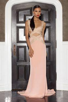 Blush silk crepe gown w/crisscross embroidery w/illusion inserts