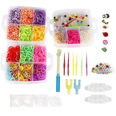 NEFUTRY Colroful Loom Kit-4500 Rubber Loom Bands, 15 Colors, 2 Monster Tailloom Board, 2 Y Shape loom, 1 Big Hook, 6 Small Hook, 4 Packs S-Clips, 50 colorful beads, 6 Silicon Charms  Included 4500 stretchy rubber bands in 15 colors-make lots of rubber band bracelets, hair accessories, necklaces, rings, etc  Come with many tools and accessories-2 Monster Tailloom Board, 2 Y Shape loom, 1 Big Hook, 6 Small Hook, 4 Packs S-Clips, 6 Silicon Charms, 50 colorful beads  All the bands and acce...