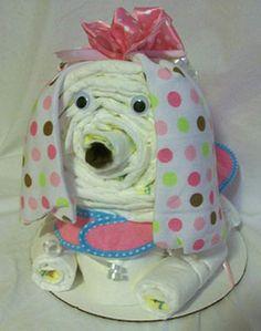 Girl Dog Diaper Cake-Girl Dog Diaper Cake,