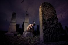 Pan brooding alone in the graveyard Nature Spirits, Satyr, Deities, Pagan, Countryside, Woodland, Fantasy, Artwork, Photography