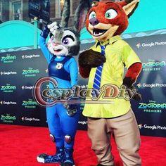 CosplayDiy Zootopia Plush Mascot Costume Cartoon Officer Judy Hopps Rabbit Mascot Nick Fox Mascot Costumes Custom Made #Affiliate