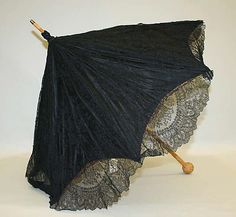 Parasol Made Of Silk, Cotton, Wool And Steel - American   c. Early 20th Century