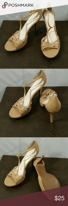 "* Beautiful High Heels * Tan * Open Toe * 4"" Heels * Never been Worn * Just Tried them on * Bundle and Save * Apostrophe Shoes Heels"