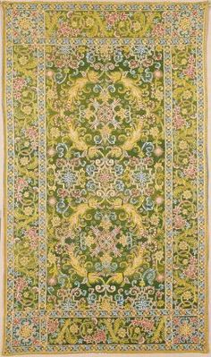 Table carpet, Spanish, 16th century, linen canvas embroidered with silk and metal thread.