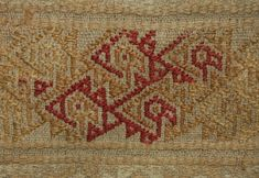 Textile fragment; portion of tunic(?); two textiles sewn together with fringe sewn along bottom edge; cotton plain weave ground with supplementary weft patterning(?) - central stripe of camelid supplementary weft features repeated long-tailed bird motifs, bordered on either side by cotton supplementary weft stripes of rhomboidal motifs; fringe of plain weave with extended looped wefts(?) sewn along bottom edge; tan, red, cream. Colombian Art, Textiles, Museum Shop, Detailed Image, British Museum, Textile Art, Bohemian Rug, Weaving, Objects