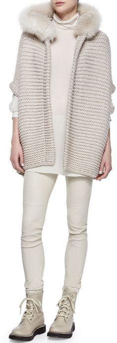 s1500 (309×900) Cashmere Poncho, Poncho Sweater, Sweater Coats, Wool Sweaters, Crochet Coat, Crochet Jacket, Blusen Tops, Fur Trim, Knit Fashion