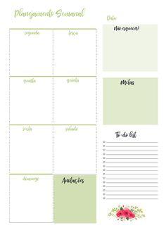 Planner 2019 Calendário Floral Verde Pdf Feriados Nacionais datas comemorativas download organização Agenda Planner, Planner Pages, Happy Planner, Planner Ideas, Planner Template, Printable Planner, Planner Stickers, Bullet Journal 2, Planners