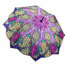 Galleria Art Print Walking Length Umbrella - Vineyard