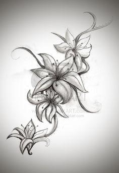 3 stargazer lily tattoo patterns