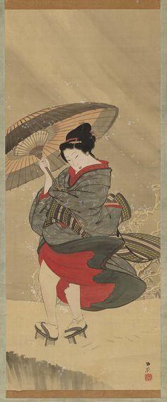 Woman in Snow  雪中美人図 Japanese Edo period mid-19th century Maekawa Gorei (Japanese, 1806–1876)