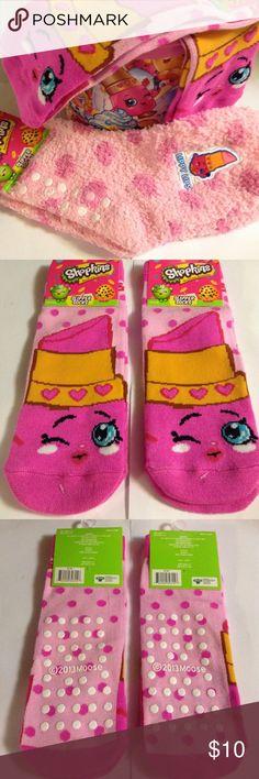Shopkins Lippy Lips Socks Pink Shopkins Slipper Socks!!!  Lippy Lips socks, 3 pairs.  Fits shoe size 7-3. Shopkins Shoes Slippers