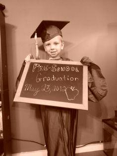 take his preschool graduation picture in my high school graduation cap and gown! // preschool and kindergarten graduation