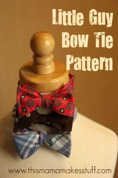 Bowtie pattern thats a little smaller and includes a hook closure in the back. you actually have to tie this bowtie. Tutorial and Pattern Sewing Hacks, Sewing Tutorials, Sewing Crafts, Sewing Projects, Sewing Patterns, Sewing Tips, Sewing For Kids, Baby Sewing, Bow Tie Tutorial