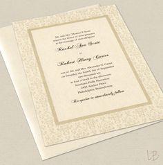 Formal Wedding Invitation Sample Set - Traditional Ivory Damask Wedding Invitation. $2.50, via Etsy.